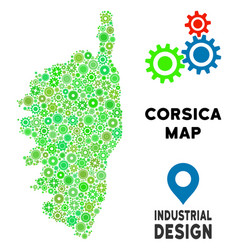 Gears corsica france island map collage vector
