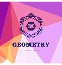 Geometric flower style monogram logo on low vector