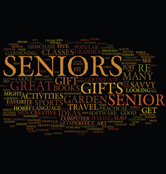 Gifts for seniors text background word cloud vector