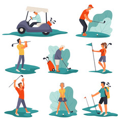 Golf club people playing game on wide field vector