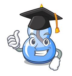 Graduation alcohol burner character cartoon vector