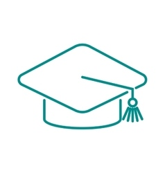 Graduation cap diploma web outline hat icon vector