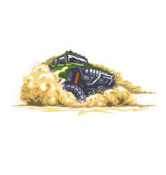 Green offroad car driving through obstacles vector