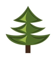 green pine tree with wooden log graphic vector image