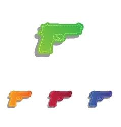 Gun sign Colorfull applique icons vector image