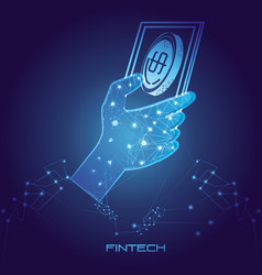 Hand using smartphone with money fintech concept vector