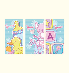 Hello baby shower cards vector
