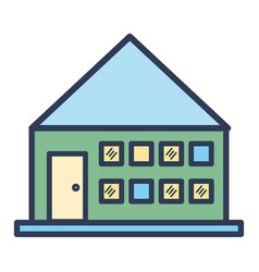 house with roof and windows with door vector image