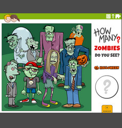 How many cartoon zombies educational game for kids vector