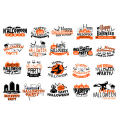 icons for happy halloween party holiday vector image