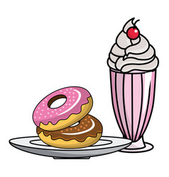 Isolated donuts and milkshake design vector