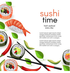 japanese sushi restaurant template with rolls and vector image