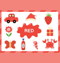 Learning color red educational poster for vector