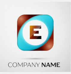 Letter e logo symbol in the colorful square on vector