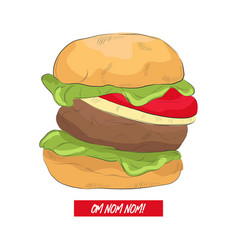line art burger with funny text hand drawn with vector image
