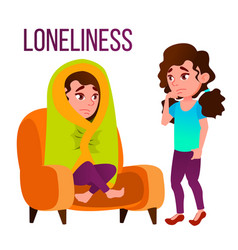 loneliness cartoon poster template with vector image