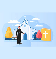 male priest standing outside big white church vector image