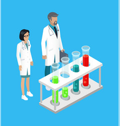 Medical workers in laboratory vector