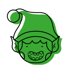 Merry christmas elf with cute hat vector