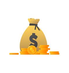 money bag cartoon dollar icon vector image