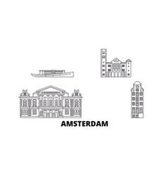 netherlands amsterdam line travel skyline set vector image