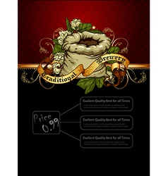 ornate frame with beer elements vector image