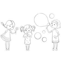 outline girls vector image