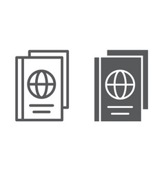 passport line and glyph icon document and travel vector image