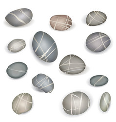 Pebbles stone isolated set sea coast nature sign vector