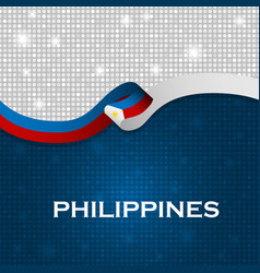 Philippines flag ribbon shiny particle style vector