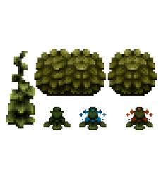 pixel art bushes - nature elements - assets for vector image