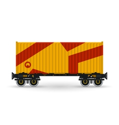 Platform with Orange Container Isolated on White vector