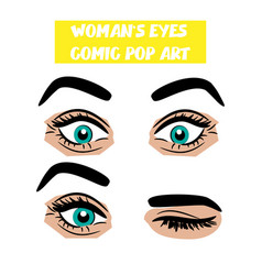 Pop art cartoon comic surprise wink woman eyes vector