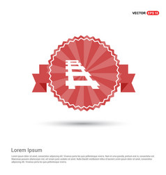 railroad track icon - red ribbon banner vector image