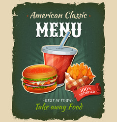 Retro fast food chicken burger menu poster vector