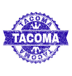 Scratched textured tacoma stamp seal with ribbon vector