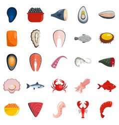 seafood fresh fish food icons set isolated vector image