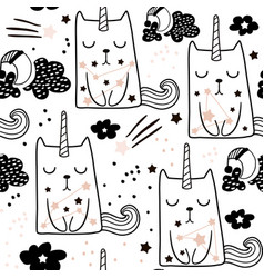Seamless childish pattern with cute fairy cat vector