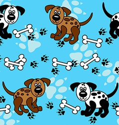 Seamless dogs and bones borders over blue vector