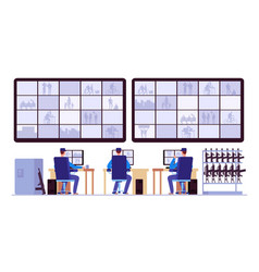 security room professionals monitoring in control vector image