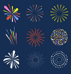 set of isolated fireworks brightly colorful and vector image