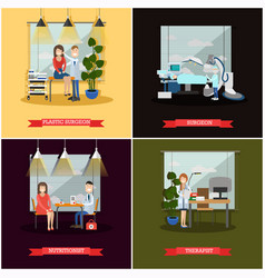 set of medical doctors posters in flat vector image