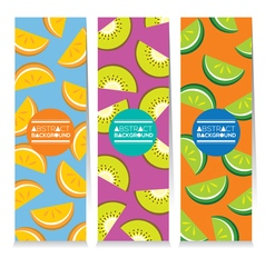 Set of three juicy fruit parts vertical banners vector