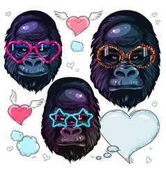 set portrait monkey gorilla in the fashion vector image