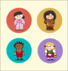 Simple drawn children of different nationalities vector image