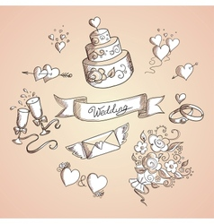 Sketch of wedding design elements vector image