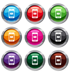 smartphone with email symbol on the screen set 9 vector image