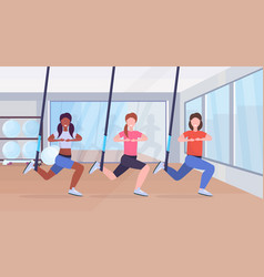 sporty women doing squats exercises with vector image