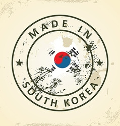 Stamp with map flag of South Korea vector image