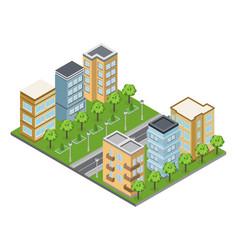 Suburb buildings vector